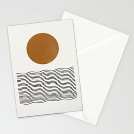 Abstract Landscape, Gold Sun Stationery Cards