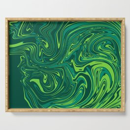 Toxic green mable Serving Tray