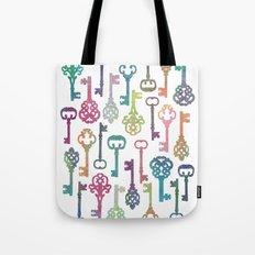 Rainbow Keys on White Tote Bag