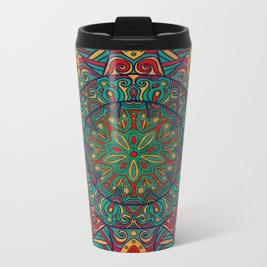 Tribal Mandala Metal Travel Mug