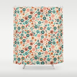 Folk Flowers Shower Curtain