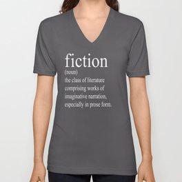 Fiction Definition (White on Tan) Unisex V-Neck
