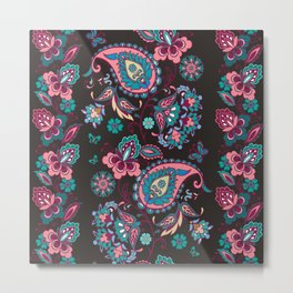 Striped seamless pattern with paisley on black background. Decorative ornament Metal Print