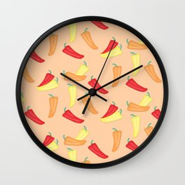 Hot Chili Pepper Pattern on Peach Wall Clock