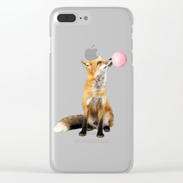 Fox Blowing Bubble Gum - Digital Image Clear iPhone Case