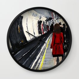London Underground Subway Woman In Red Coat Wall Clock
