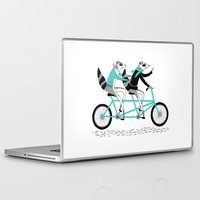 cycling Laptop & iPad Skins featuring Cycling Raccoons by smalltalkstudio