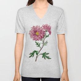 Light Purple Chrysanthemum / W. Curtis 1857 Unisex V-Neck