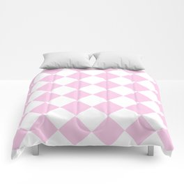 Large Diamonds - White and Classic Rose Pink Comforters