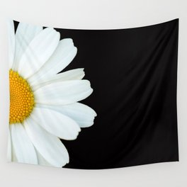Hello Daisy - White Flower Black Background #decor #society6 #buyart Wall Tapestry