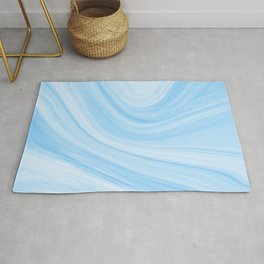 Pastel Marbled Blue & White Geode Rug