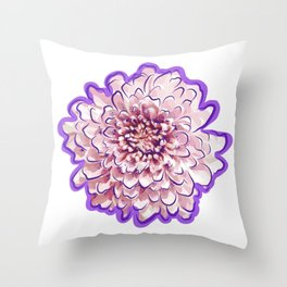 Pink and Purple Floral Illustration Throw Pillow