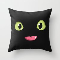 toothless Throw Pillows featuring Toothless by Tabner's