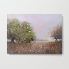 Quiet Afternoon Soft Pastel Landscape Painting Metal Print