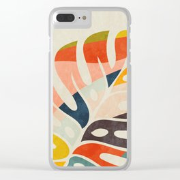 shape leave modern mid century Clear iPhone Case