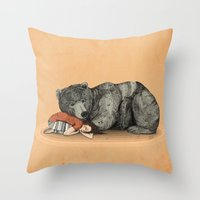 shipping Throw Pillows featuring Huntress by Sandra Dieckmann