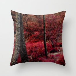 Red forest landscape electric alien Throw Pillow