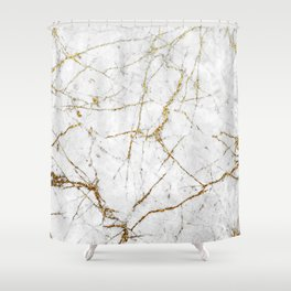 Gold Glitter and White Marble Shower Curtain