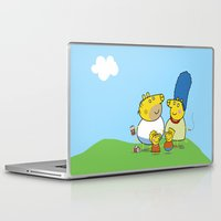 simpson Laptop & iPad Skins featuring The Peppa Simpson Family by Carlos Paboudjian