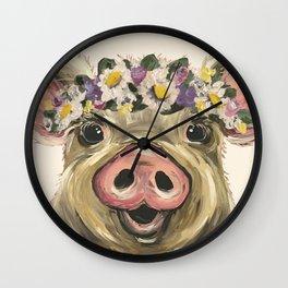 Farm Animal Art, Pig Art Wall Clock
