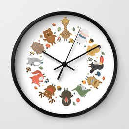 cute animal family Wall Clock