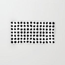 Black and White Minimal Minimalistic Polka Dots Brush Strokes Painting Hand & Bath Towel