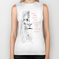 narnia Biker Tanks featuring Revelation 5:5 Lion by Vertical Designs