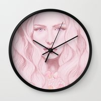 water colour Wall Clocks featuring Water Colour Girl by DeeDee Design