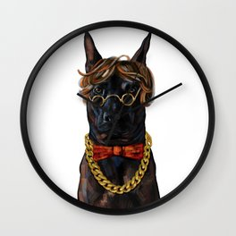 Digital painting of hipster black Thai Ridgeback dog. Wall Clock