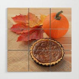 Thanksgiving gourd and pumpkin pie Wood Wall Art