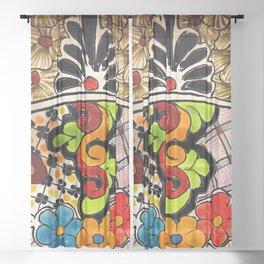 Beautiful Red and Green Talavera Sheer Curtain