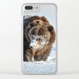 Alaskan Grizzly in Snow - 2 Clear iPhone Case