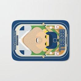 Baseball Blue Pinstripes - Rhubarb Pitchbatter - Sven version Bath Mat