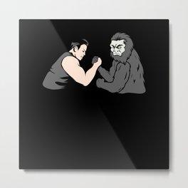 Arm Wrestling Bigfoot Sasquatch Monkey Wrestler Metal Print