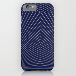 Gold Diagonals and Rays on Navy Blue iPhone Case