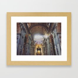 Sunlight Pouring Through the Windows of St. Peter's - Vatican City Framed Art Print