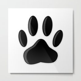 Black Dog Paw Print With Newsprint Effect Metal Print
