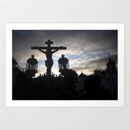 Jesus Christ at sunset Art Print