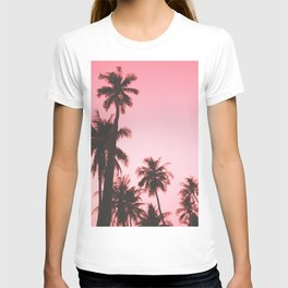 Tropical palm trees on beige pink T-shirt