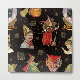 Vintage Halloween Party in Black Cat + Gold Celestial Metal Print