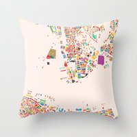 hong kong Throw Pillows featuring Hong Kong by Maps Factory