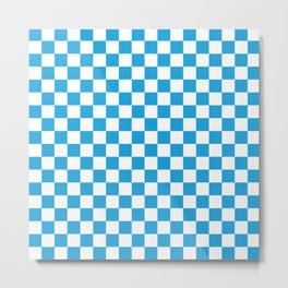 Oktoberfest Bavarian Large Blue and White Checkerboard Metal Print