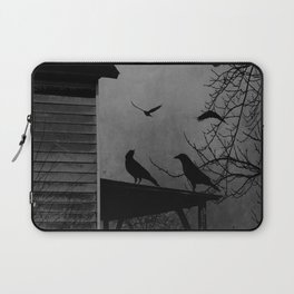 Rustic Black Birds Crows on Abandoned House Porch Black and White Art A605 Laptop Sleeve