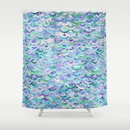 Marble Mosaic in Sapphire and Emerald Shower Curtain