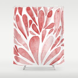 Watercolor artistic drops - red Shower Curtain