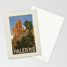 vintage Palermo Sicily Italian travel ad Stationery Cards