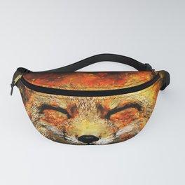 happy fox smiling splatter watercolor Fanny Pack