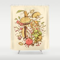 fight Shower Curtains featuring Food Fight by Alex Solis