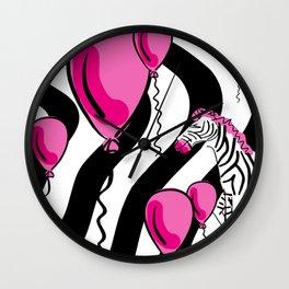 Little Pink Zebra's Dream Balloons Wall Clock