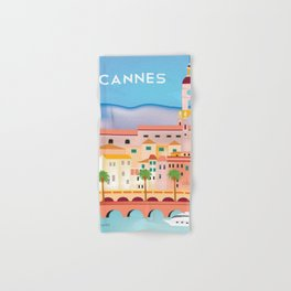 Cannes, France- Skyline Illustration by Loose Petals Hand & Bath Towel